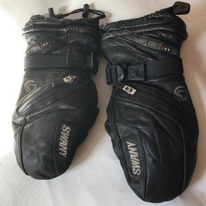 Swany black leather snowbOarding mittens gloves